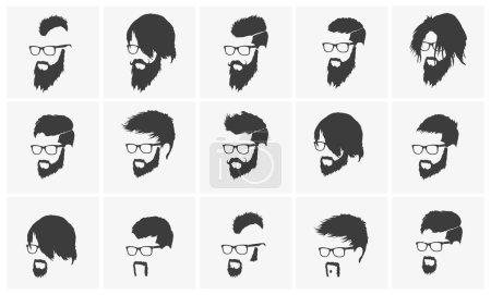 Man hair, mustache, beard set