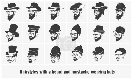 Man hairstyles and mustache collection