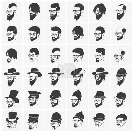 Illustration pour Coiffures avec barbe et moustache portant des lunettes portant des chapeaux - image libre de droit
