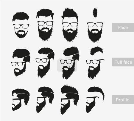 Illustration pour Coiffures masculines hipster avec une barbe au visage, le visage complet et le profil. icônes ensemble - image libre de droit