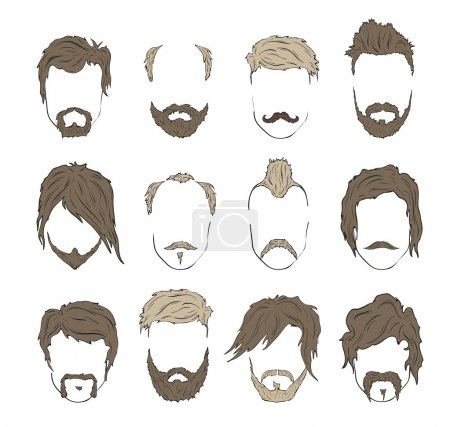 Hipster mustache, beard and hairstyle set