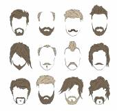 Hipster male mustache beard and hairstyle  set collection icons vector illustration