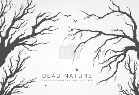 Illustration pour Branches séchées d'arbres sur fond de grande mégalopole - image libre de droit