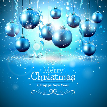 Illustration for Luxury blue Christmas greeting card with snow covered baubles - Royalty Free Image