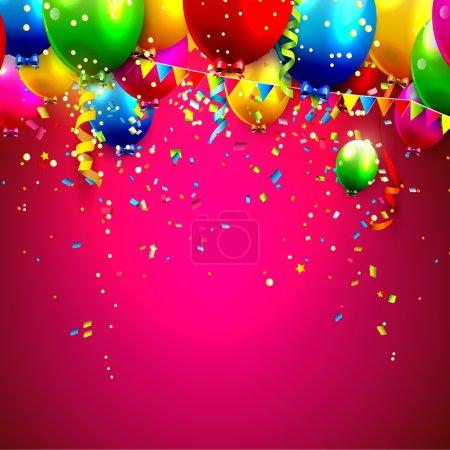 Illustration pour Ballons colorés et confettis - backgroun vectoriel - image libre de droit