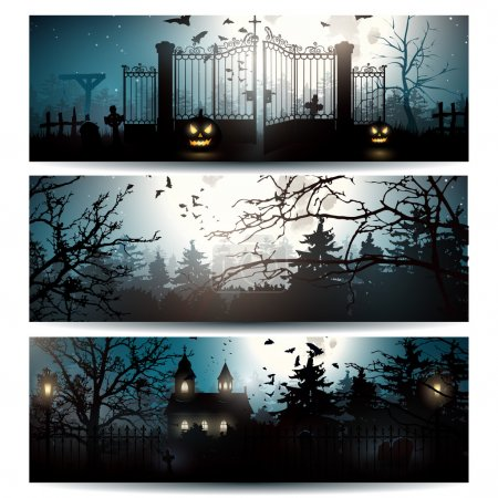 Vector set of Halloween banners