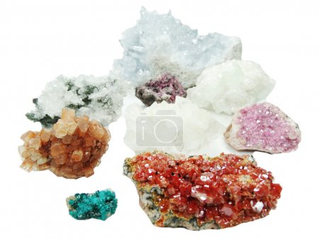 Celestite quartz dioptase  semigem crystals geolog...