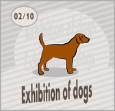 Vector postcard advertising the exhibition of dogs in retro style