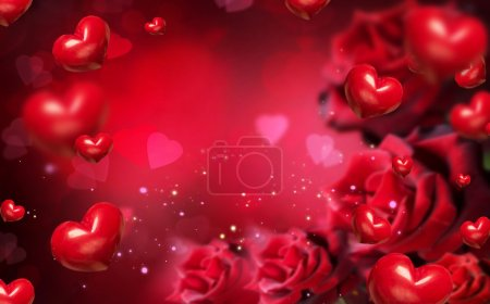 background with red hearts and roses