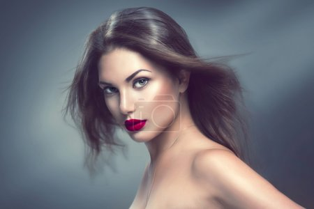 Photo for Fashion model girl portrait with long blowing hair - Royalty Free Image
