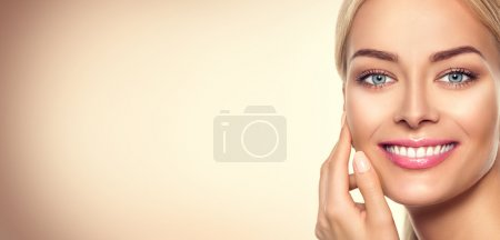 Photo for Beauty model woman face. Beauty girl portrait - Royalty Free Image
