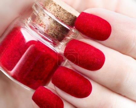 trendy red fluffy nailart design