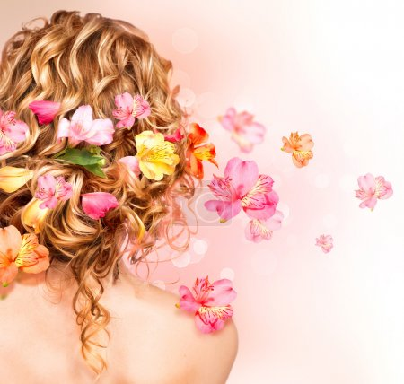 hair decorated with flowers