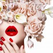 Vogue style model girl face with roses. Red Sexy L...