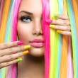 Beauty Girl Portrait with Colorful Makeup, Hair an...