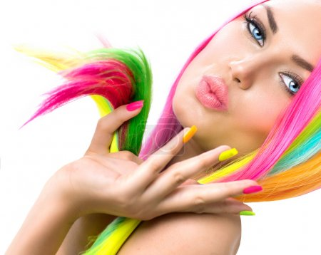 Photo for Beauty Girl Portrait with Colorful Makeup, Hair and Nail polish - Royalty Free Image