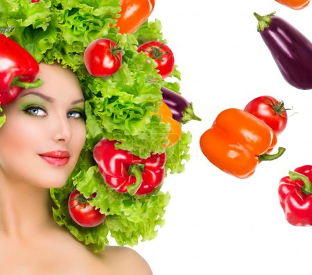 Girl with vegetables hairstyle