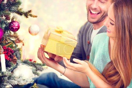 Couple with Christmas Gift