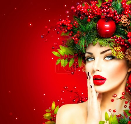 Photo for Christmas fashion model woman. Xmas hairstyle and makeup - Royalty Free Image