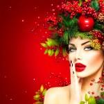Christmas fashion model woman. Xmas hairstyle and ...