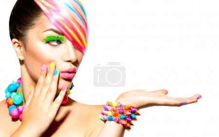 Photo for Beauty Woman Portrait with Colorful Makeup, Hair and Accessories - Royalty Free Image