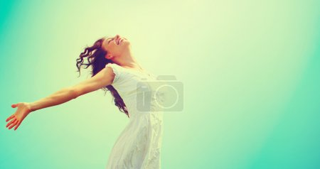 Photo for Free Happy Woman Enjoying Nature. Beauty Girl Outdoor - Royalty Free Image