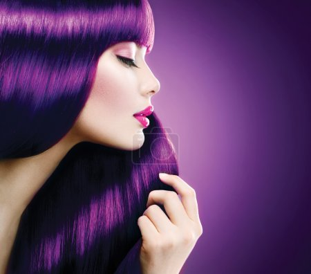 Woman with  violet hair
