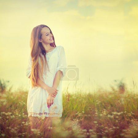 Teenage  girl enjoying nature
