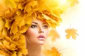 Autumn woman with  leaves hairstyle.