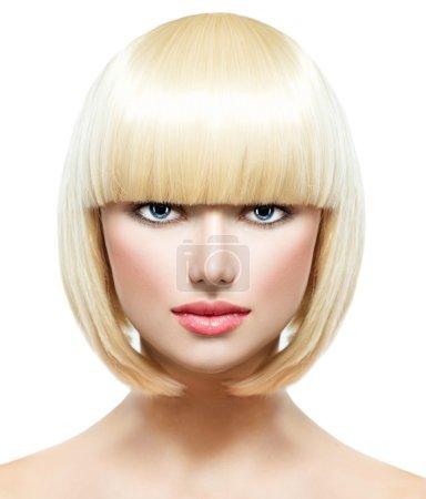 Photo for Fringe. Fashion Stylish Beauty Portrait with White Short Hair - Royalty Free Image