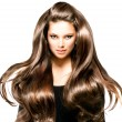 Fashion model girl portrait with long blowing hair...