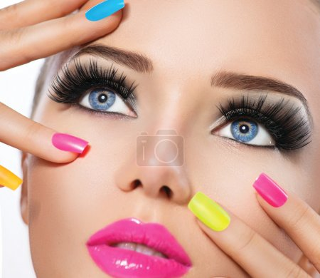 Photo for Beauty girl portrait with vivid makeup and colorful nail polish - Royalty Free Image