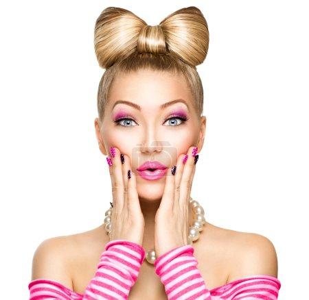 Beauty surprised fashion model girl