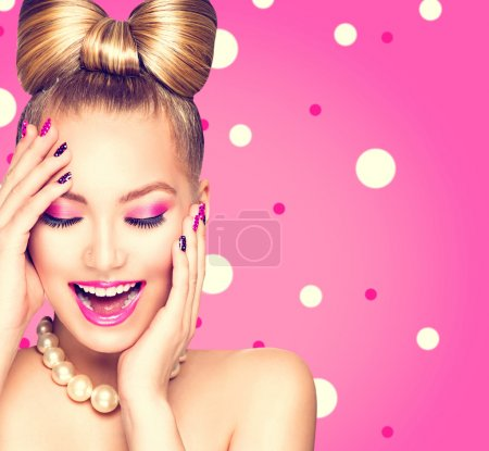 Beauty  girl with bow hairstyle