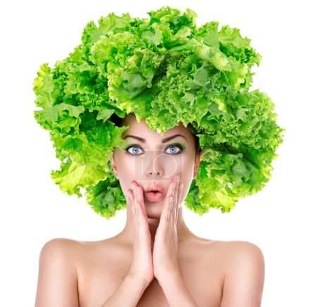 Photo for Surprised girl with green Lettuce hairstyle. Dieting concept - Royalty Free Image