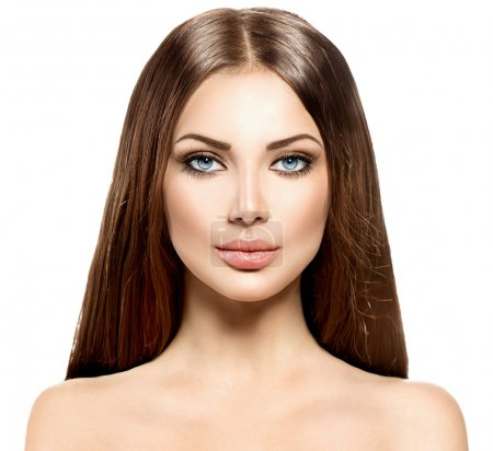 Photo for Beauty woman with long healthy and shiny smooth brown hair - Royalty Free Image