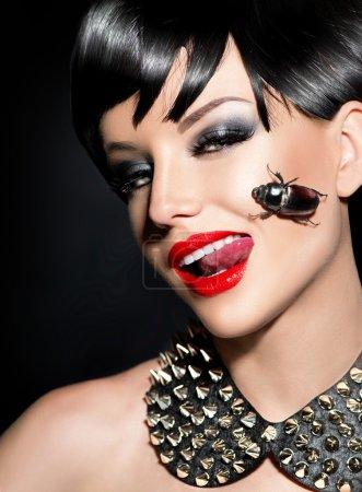 Photo for Beauty punk fashion model girl. Rocker style brunette - Royalty Free Image