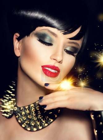 model girl with bright makeup