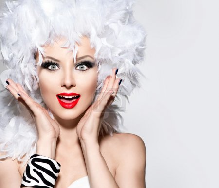 woman in white feather wig