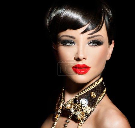 Model girl with short hair