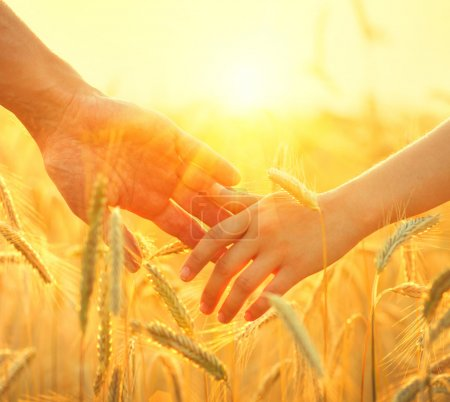 Couple prenant la main sur le champ de blé