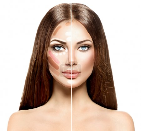 Divided woman face before and after blending contour and highlight makeup