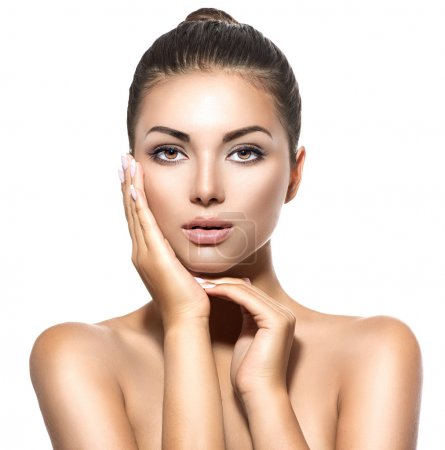 Photo for Beauty portrait. Beautiful spa brunette woman touching her face - Royalty Free Image