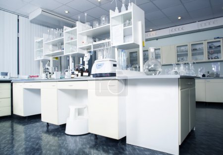 Interior of clean modern white laboratory background. Laboratory concept.