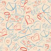 Seamless pattern with hearts and post