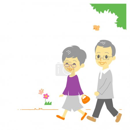Seniors couple walking in park