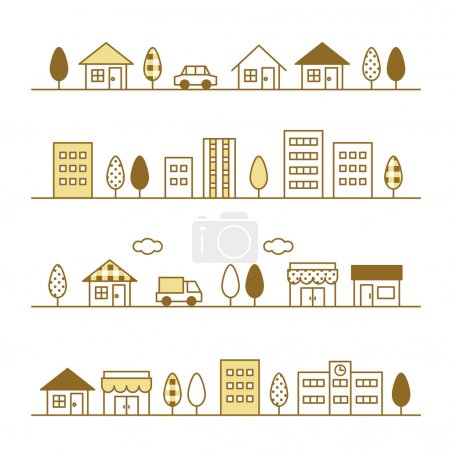 Illustration for Stores and houses on a street, vector file - Royalty Free Image