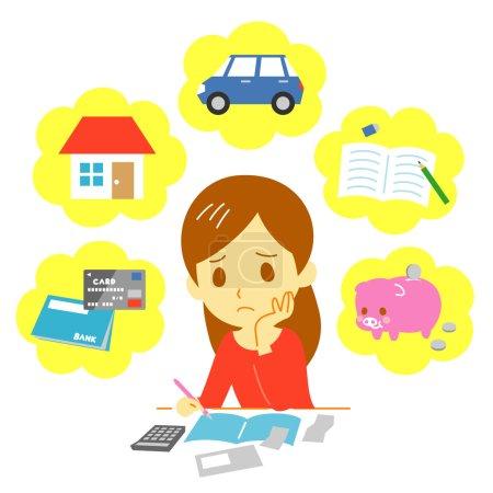 Illustration pour Gestion des finances familiales, des dépenses, des fichiers vectoriels - image libre de droit