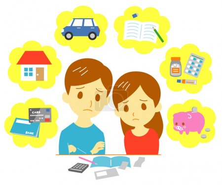Illustration for Managing family finances, expenditure, couple, vector file - Royalty Free Image