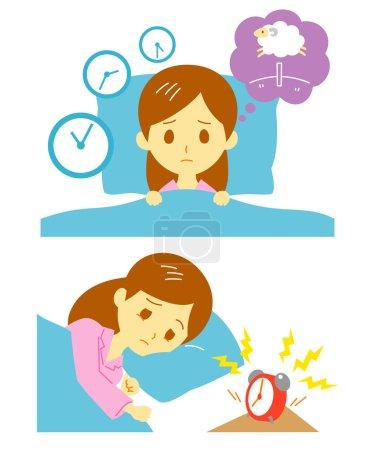 Insomnia, sleeplessness, woman, vector file...